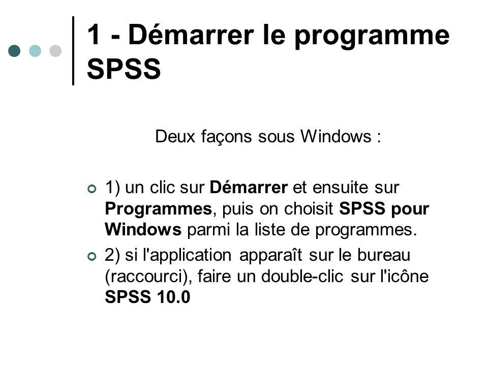 1 - Démarrer le programme SPSS