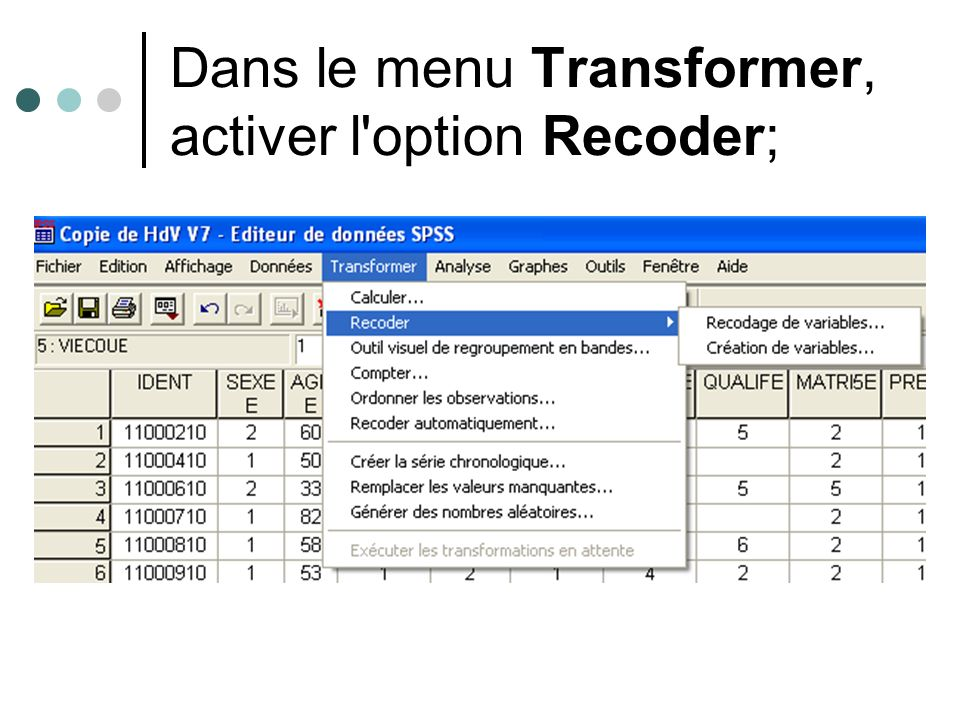 Dans le menu Transformer, activer l option Recoder;