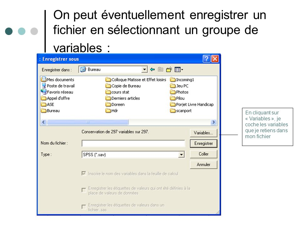 On peut éventuellement enregistrer un fichier en sélectionnant un groupe de variables :