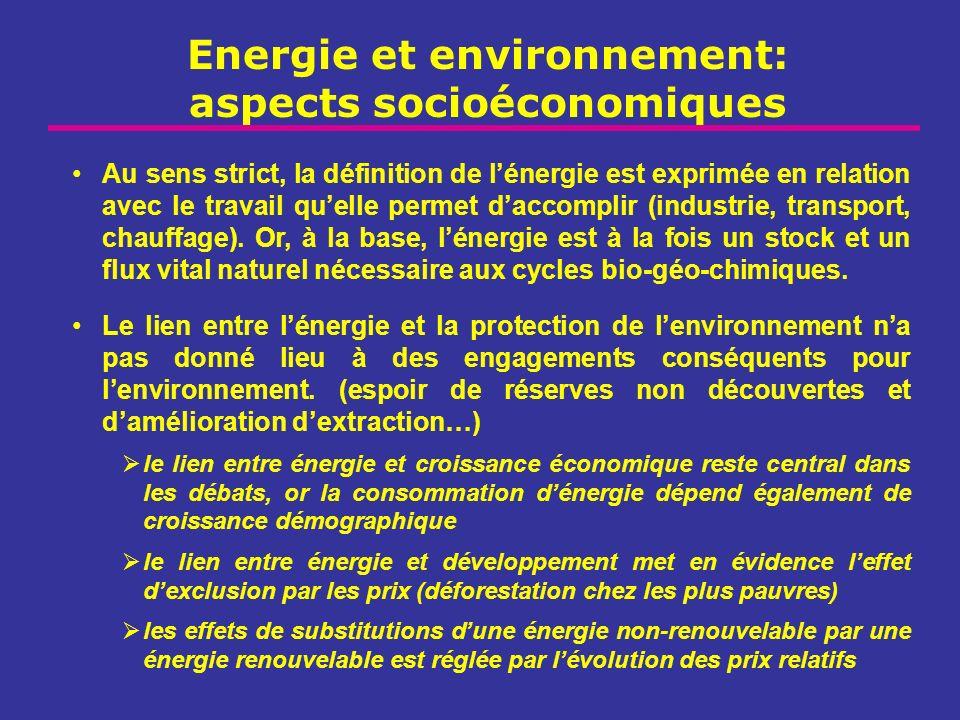 Energie et environnement: aspects socioéconomiques