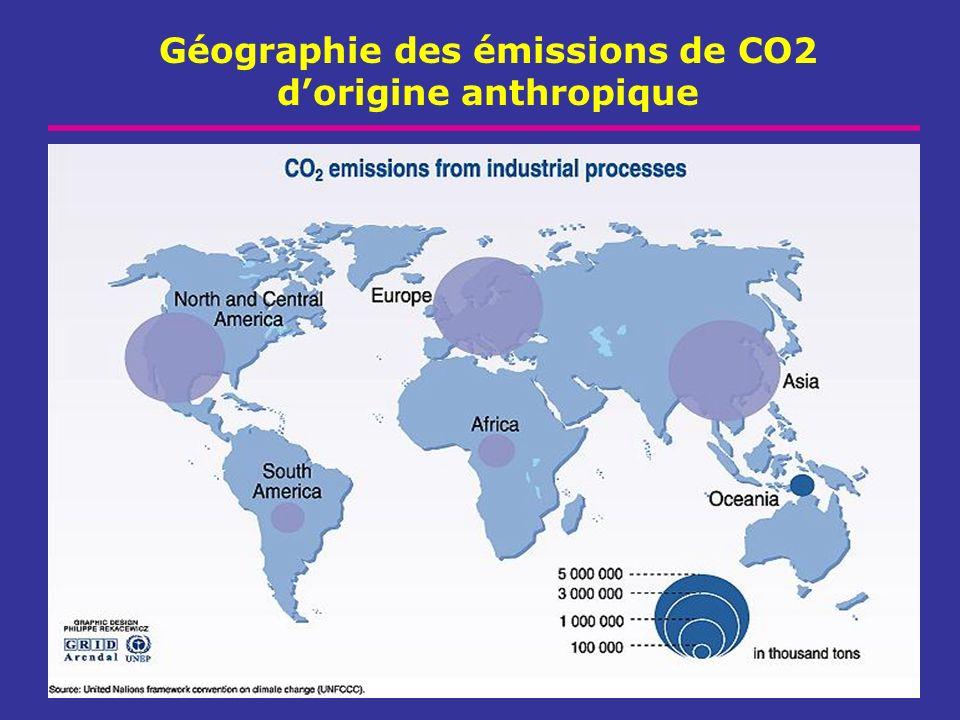 Géographie des émissions de CO2 d'origine anthropique