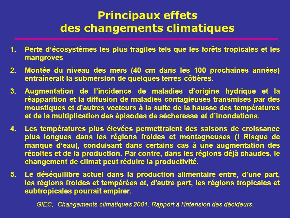 Principaux effets des changements climatiques