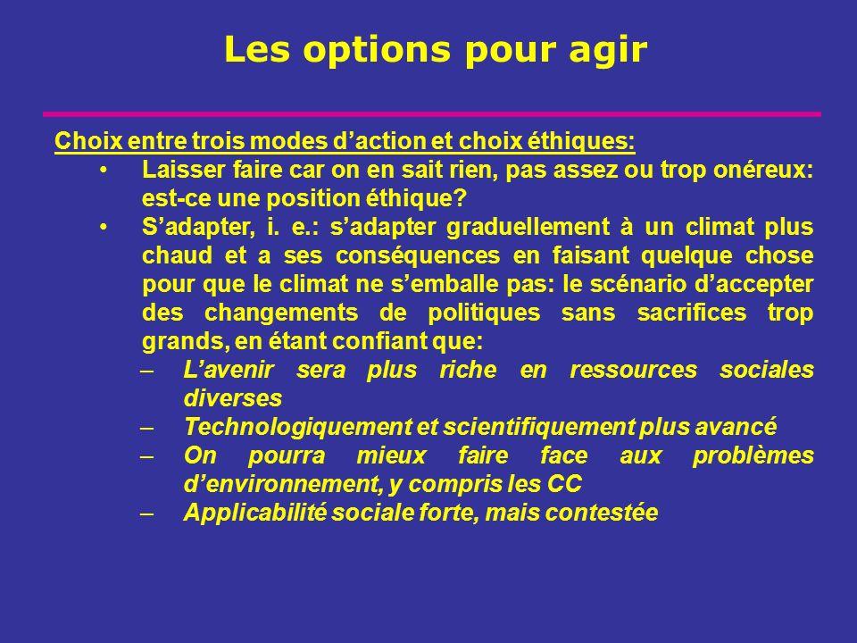 Les options pour agir Choix entre trois modes d'action et choix éthiques: