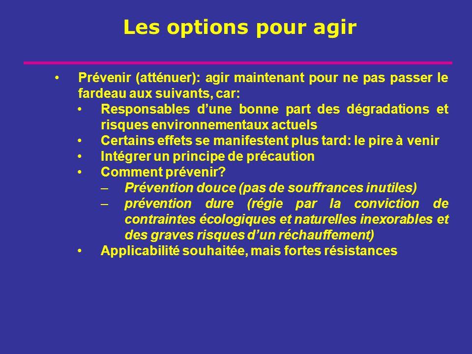 Les options pour agir Prévenir (atténuer): agir maintenant pour ne pas passer le fardeau aux suivants, car: