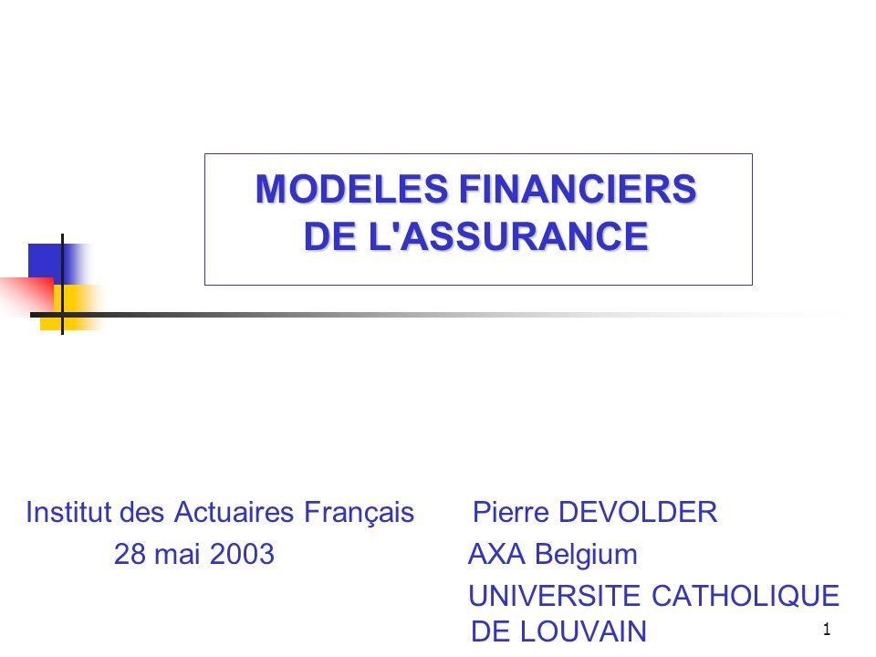 MODELES FINANCIERS DE L ASSURANCE