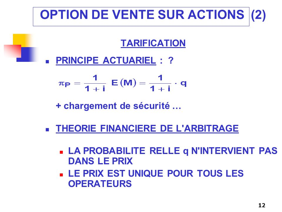 OPTION DE VENTE SUR ACTIONS (2) TARIFICATION