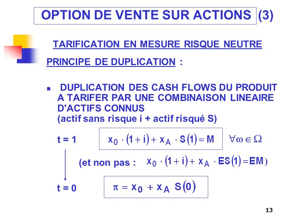 OPTION DE VENTE SUR ACTIONS (3) TARIFICATION EN MESURE RISQUE NEUTRE
