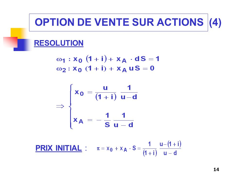 OPTION DE VENTE SUR ACTIONS (4)