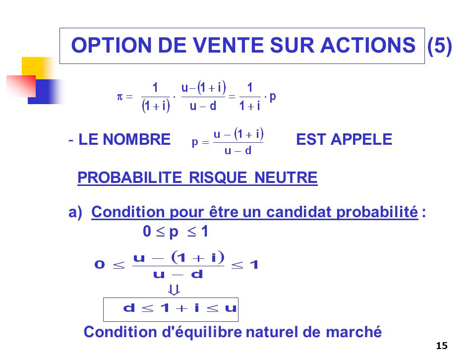 OPTION DE VENTE SUR ACTIONS (5)
