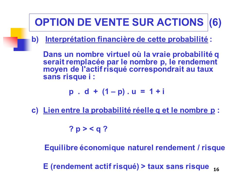 OPTION DE VENTE SUR ACTIONS (6)