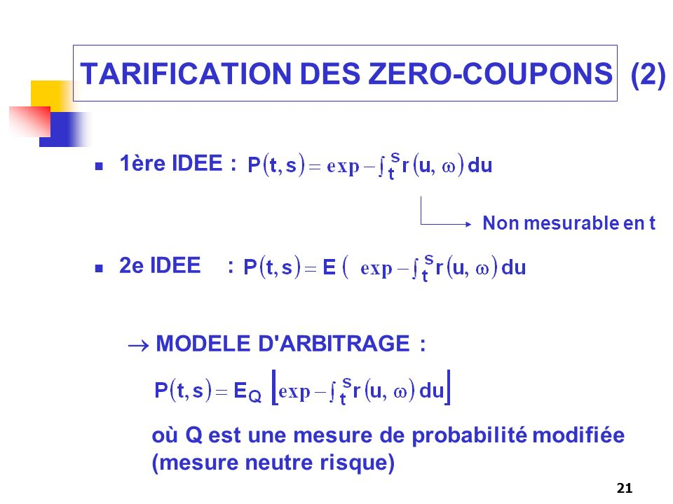 TARIFICATION DES ZERO-COUPONS (2)
