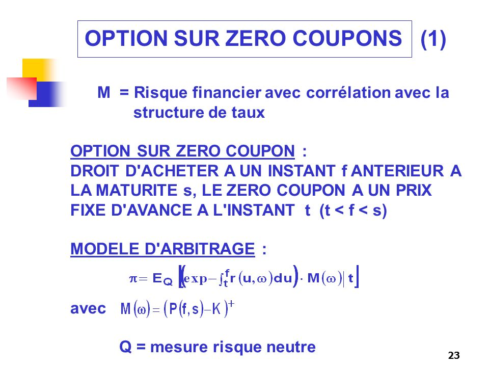 OPTION SUR ZERO COUPONS (1)