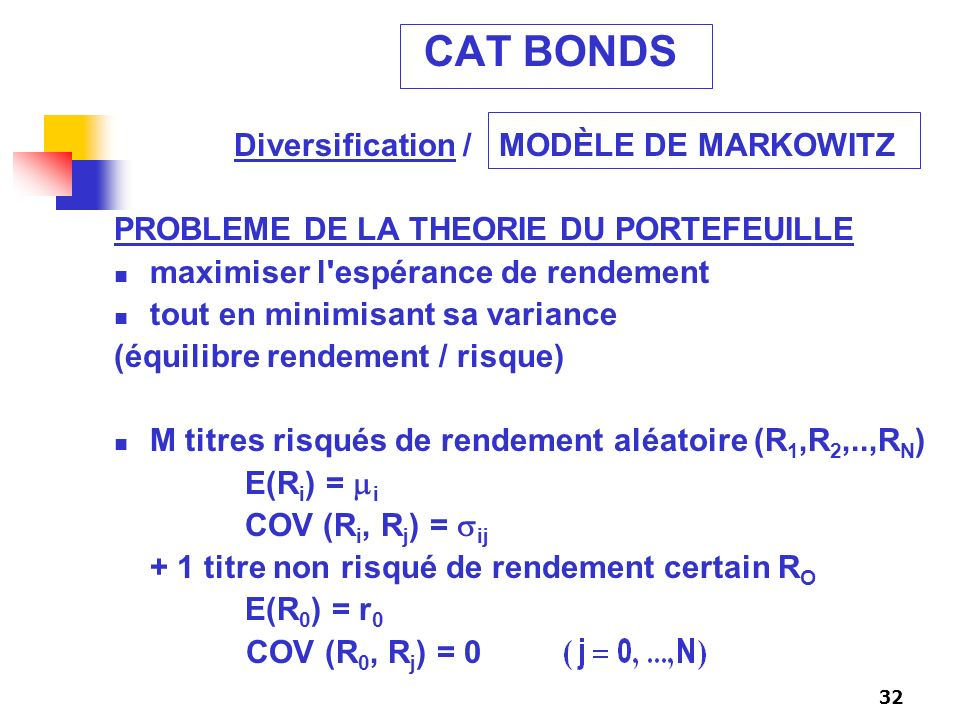 CAT BONDS Diversification / MODÈLE DE MARKOWITZ