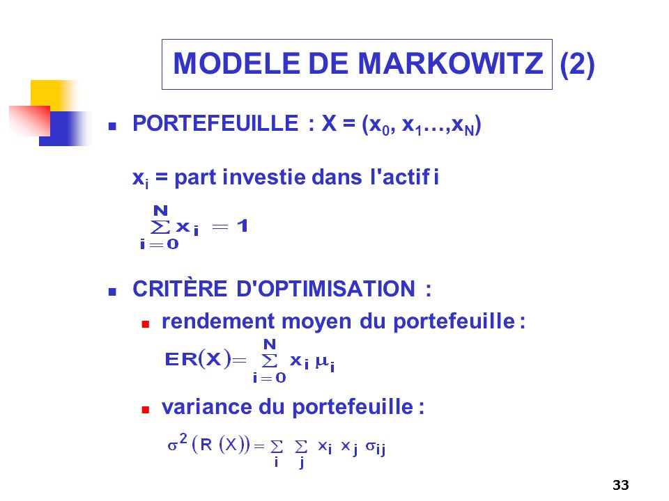 MODELE DE MARKOWITZ (2) PORTEFEUILLE : X = (x0, x1…,xN) xi = part investie dans l actif i. CRITÈRE D OPTIMISATION :