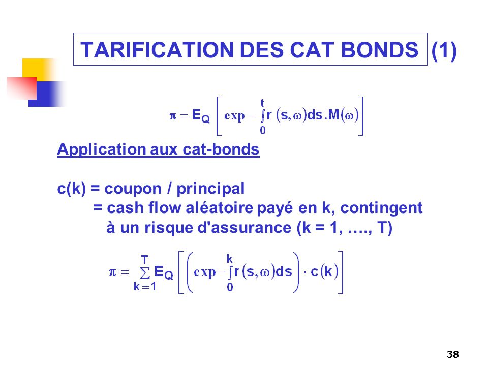 TARIFICATION DES CAT BONDS (1)