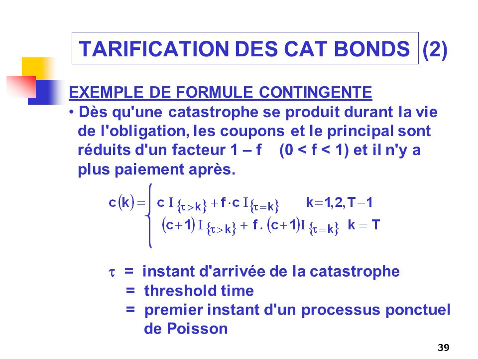 TARIFICATION DES CAT BONDS (2)