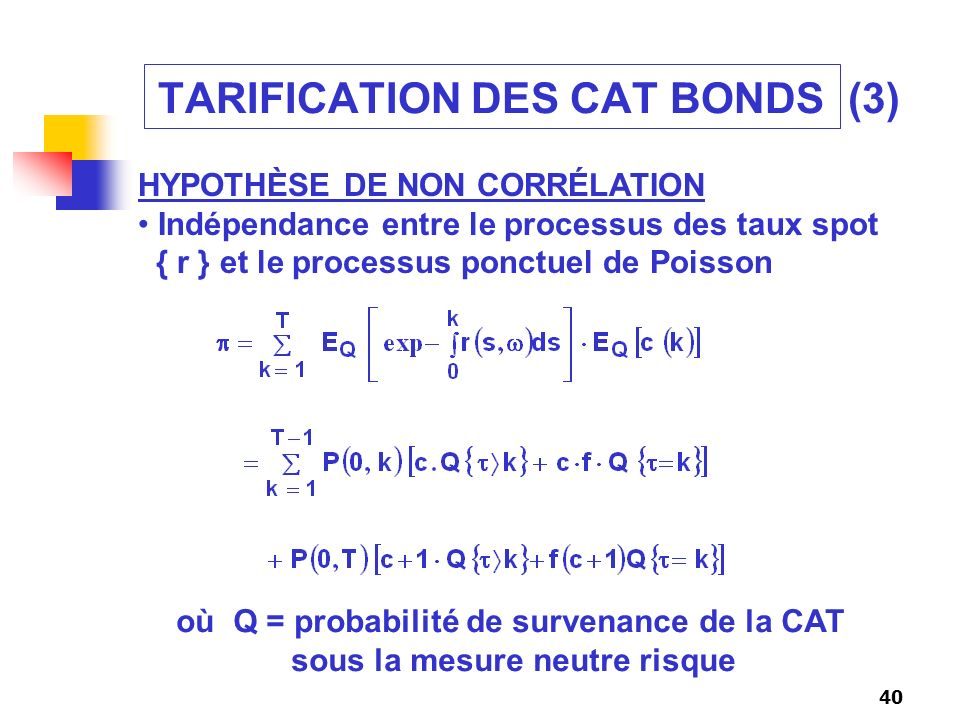 TARIFICATION DES CAT BONDS (3)
