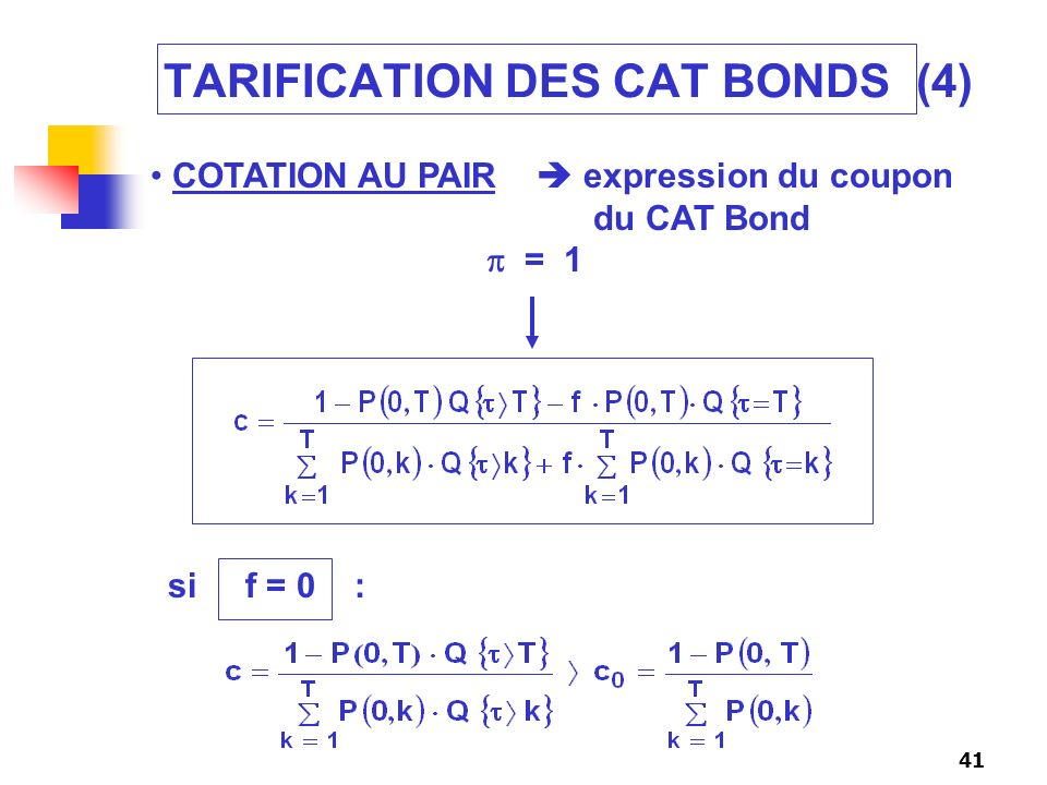 TARIFICATION DES CAT BONDS (4)
