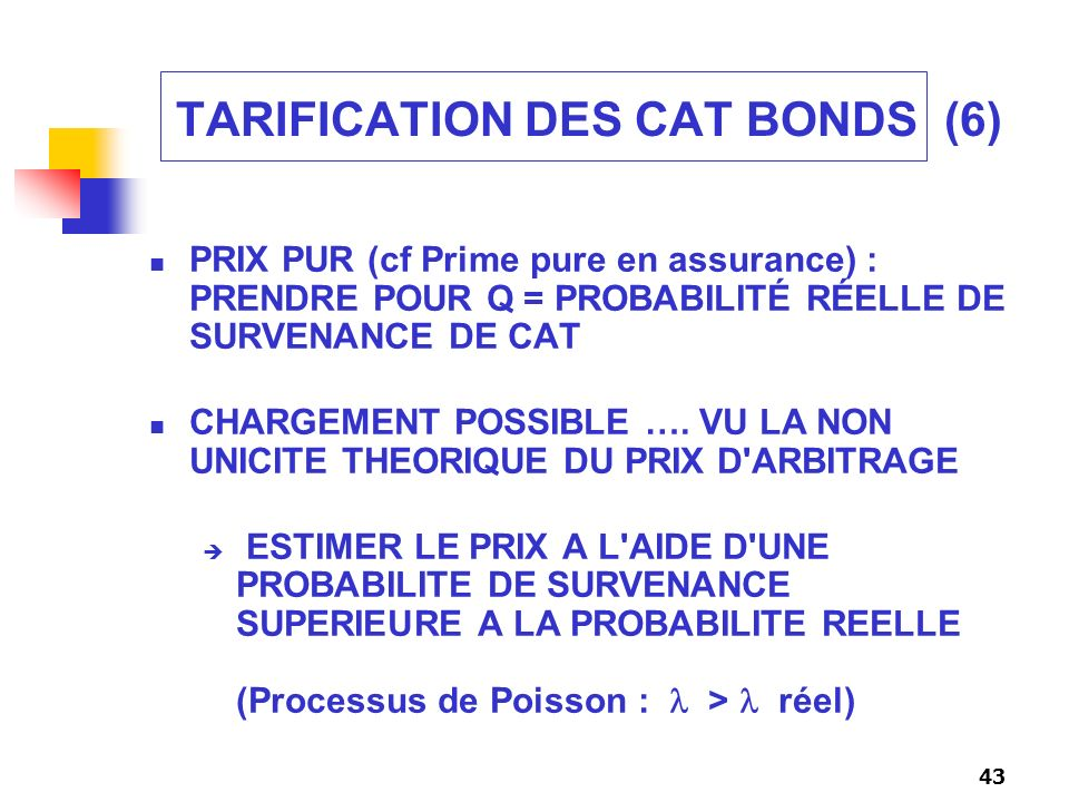 TARIFICATION DES CAT BONDS (6)