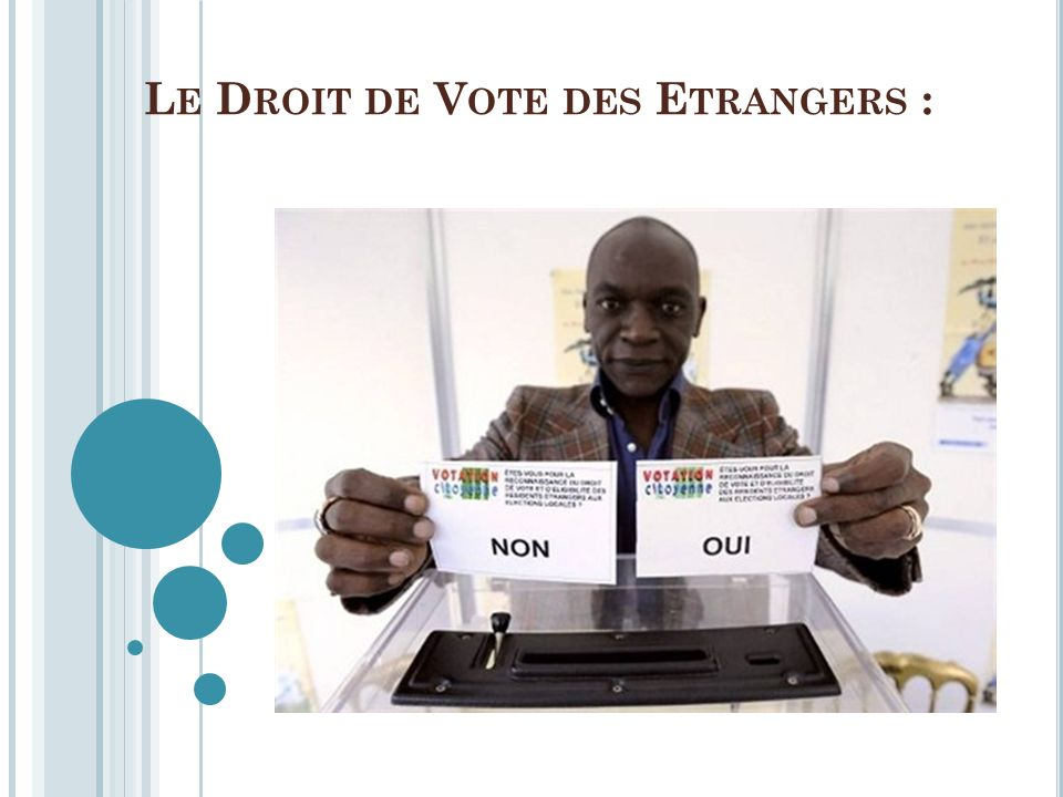 Le Droit de Vote des Etrangers :