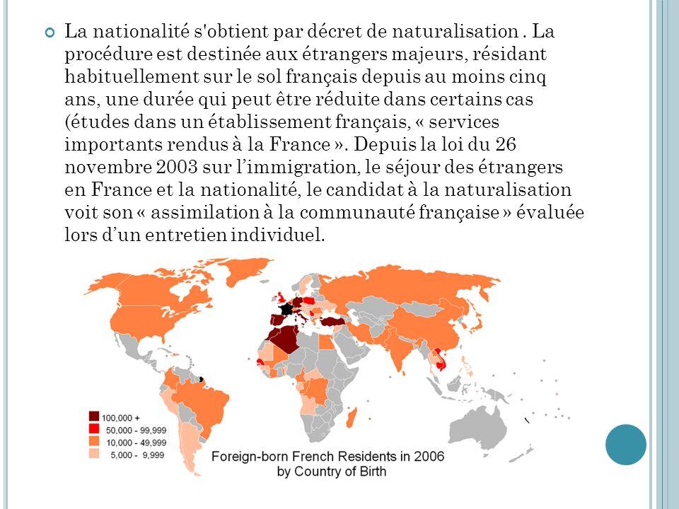 La nationalité s obtient par décret de naturalisation