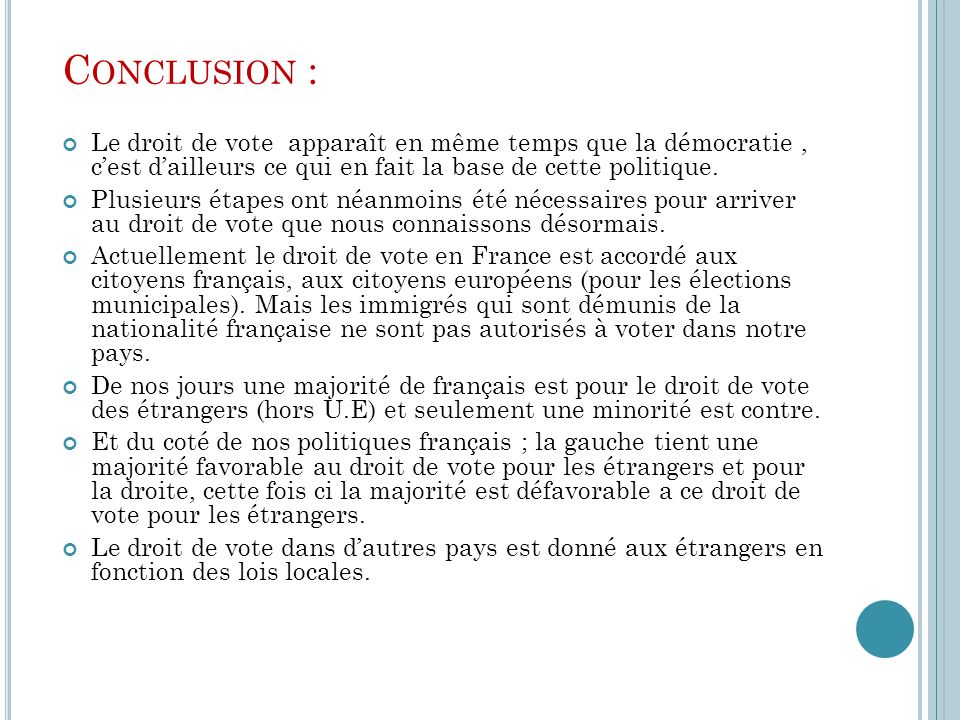 Conclusion : Le droit de vote apparaît en même temps que la démocratie , c'est d'ailleurs ce qui en fait la base de cette politique.