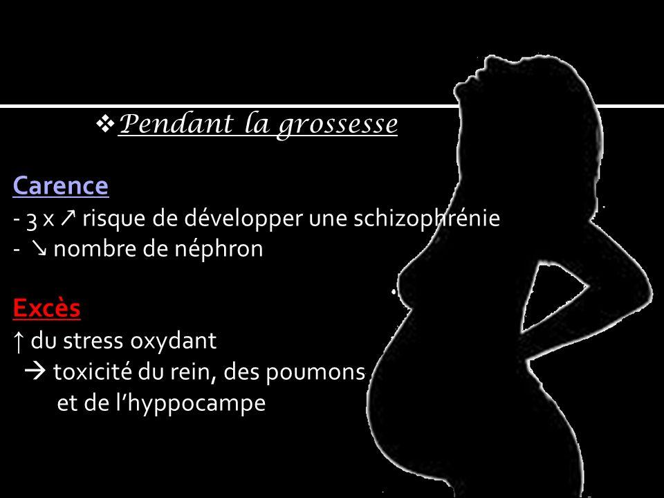 Carence Excès Pendant la grossesse