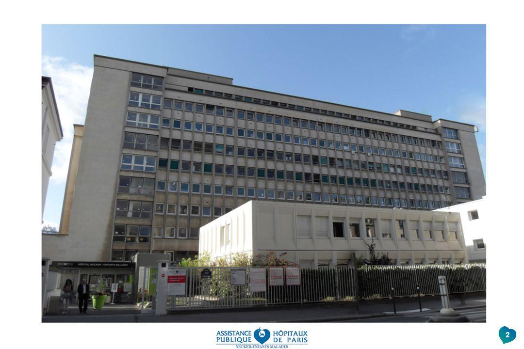 Voici la partie de l'hôpital Necker où se trouve le service