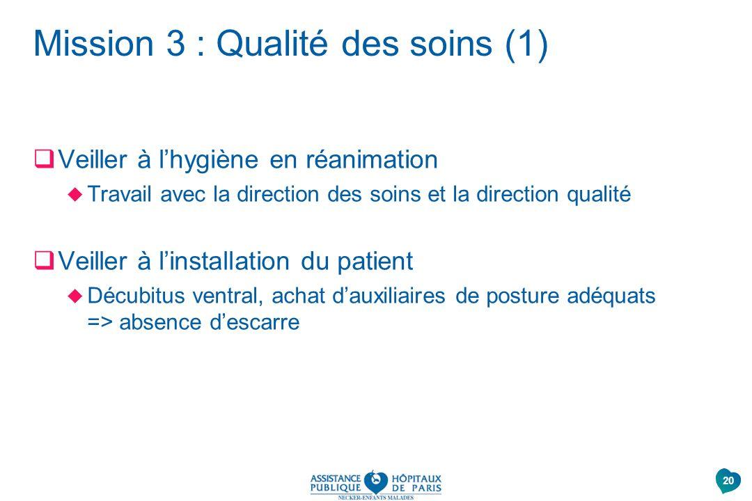 Mission 3 : Qualité des soins (1)