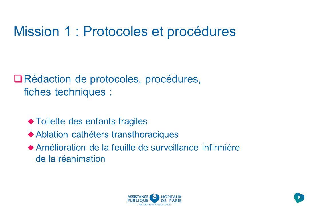 Mission 1 : Protocoles et procédures