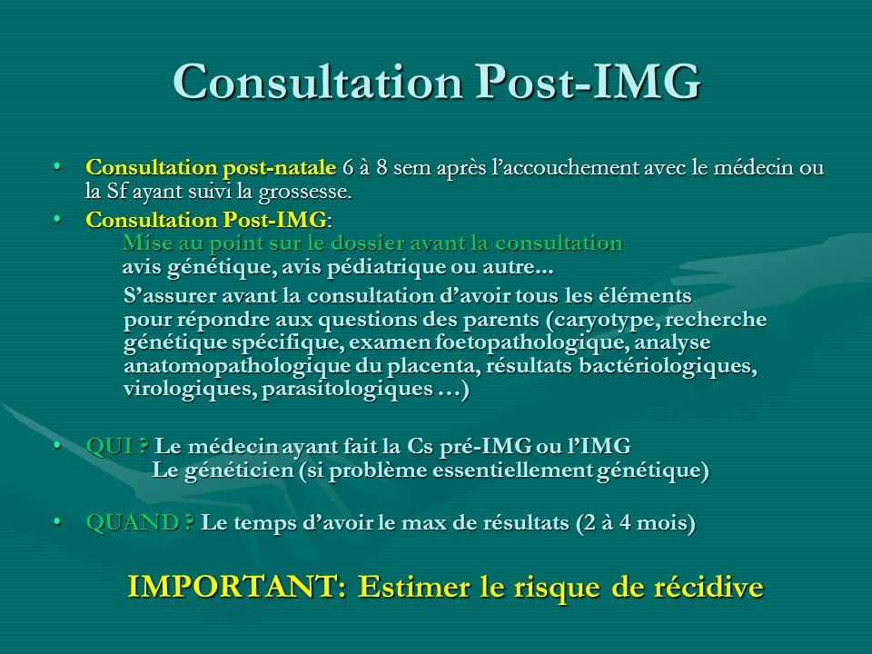 Consultation Post-IMG