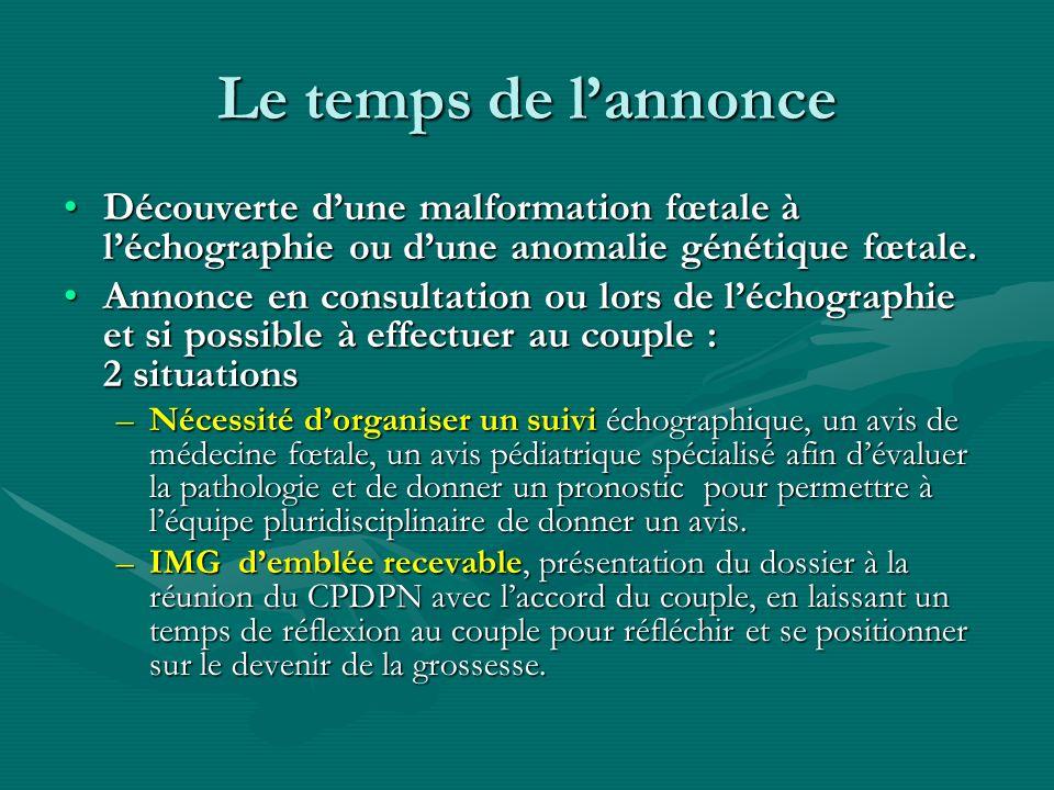 Le temps de l'annonce Découverte d'une malformation fœtale à l'échographie ou d'une anomalie génétique fœtale.