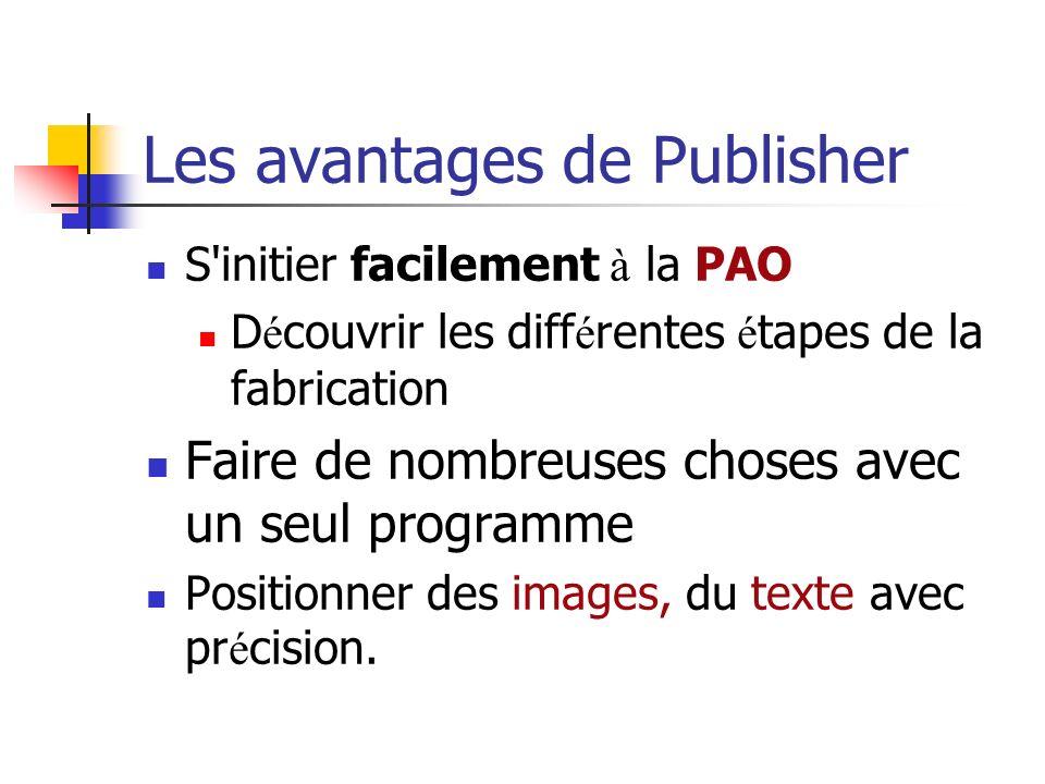 Les avantages de Publisher