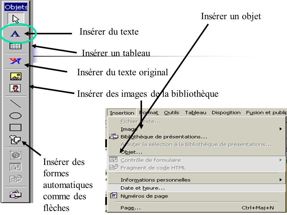 Insérer un objet Insérer du texte. Insérer un tableau. Insérer du texte original. Insérer des images de la bibliothèque.