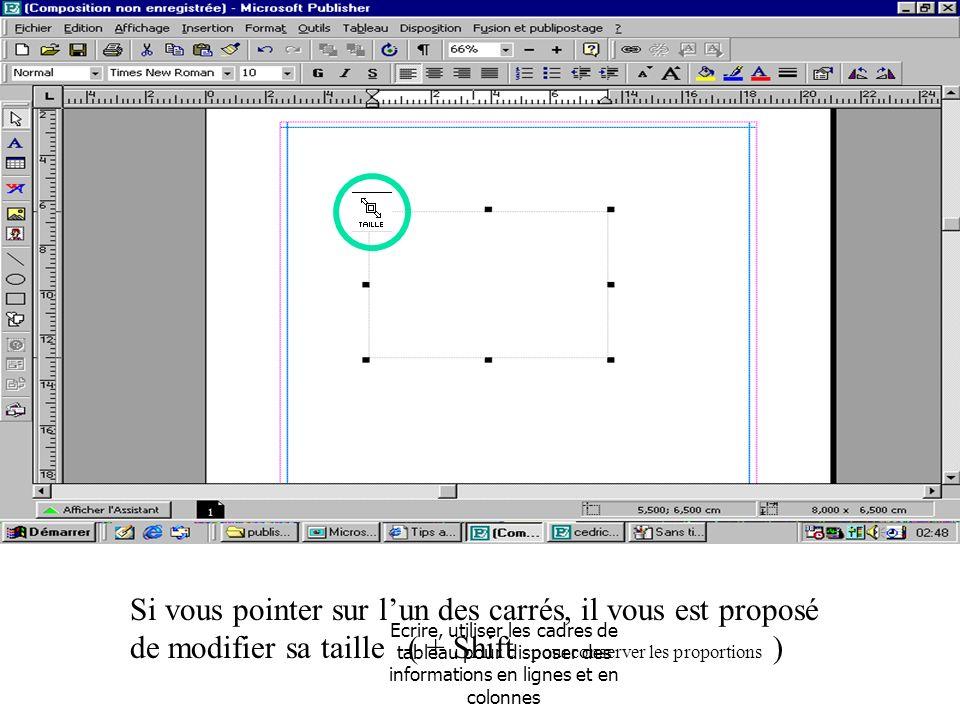 Si vous pointer sur l'un des carrés, il vous est proposé de modifier sa taille ( + Shift pour conserver les proportions )