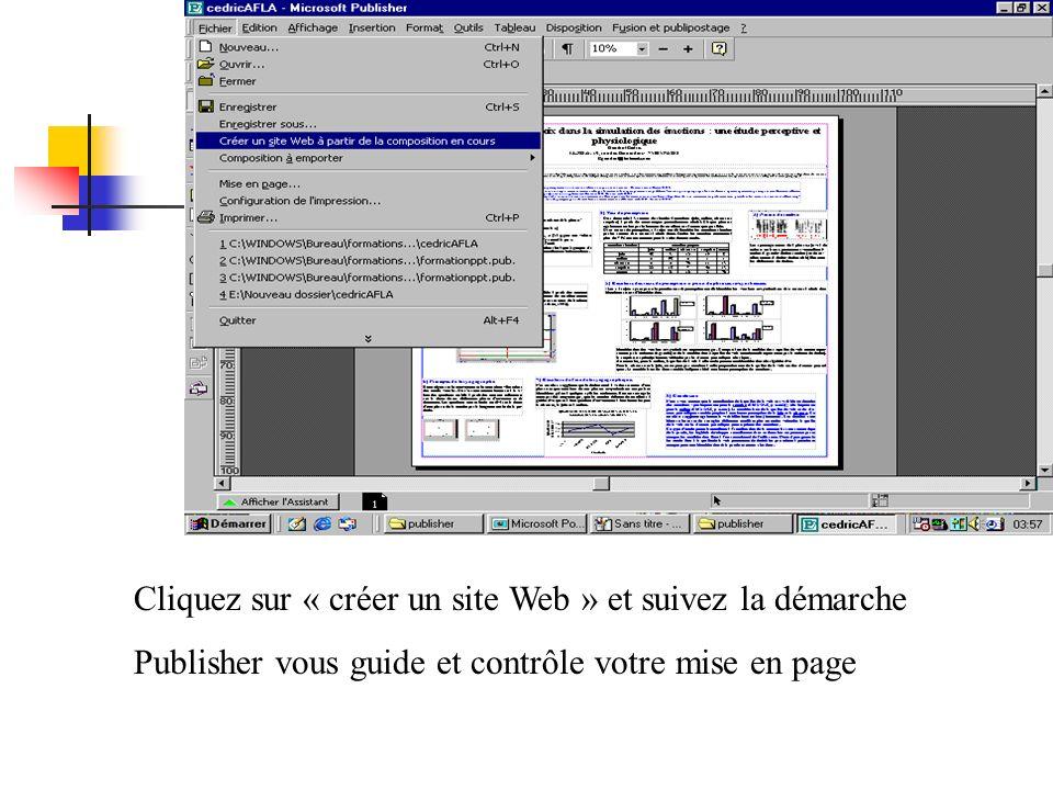Cliquez sur « créer un site Web » et suivez la démarche