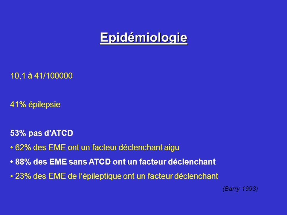 Epidémiologie 10,1 à 41/100000 41% épilepsie 53% pas d ATCD