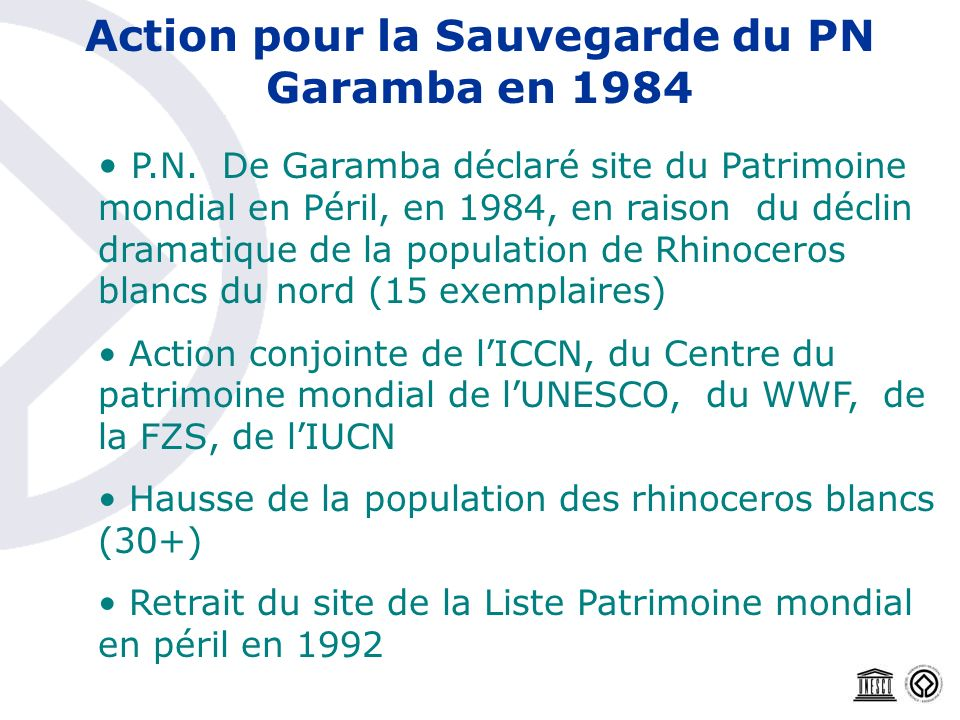 Action pour la Sauvegarde du PN Garamba en 1984