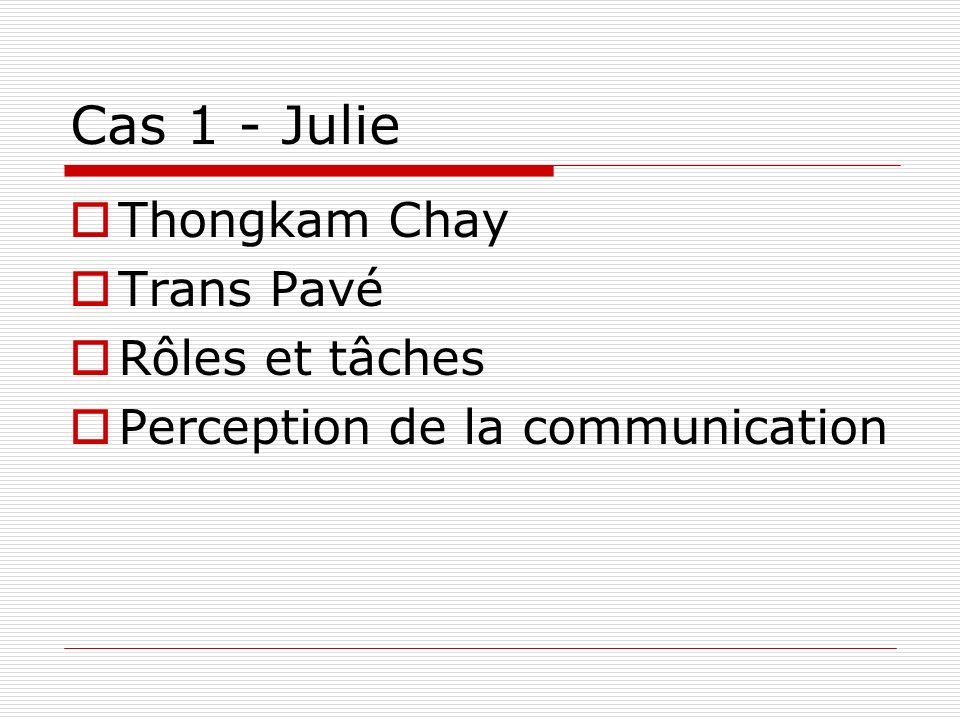 Cas 1 - Julie Thongkam Chay Trans Pavé Rôles et tâches
