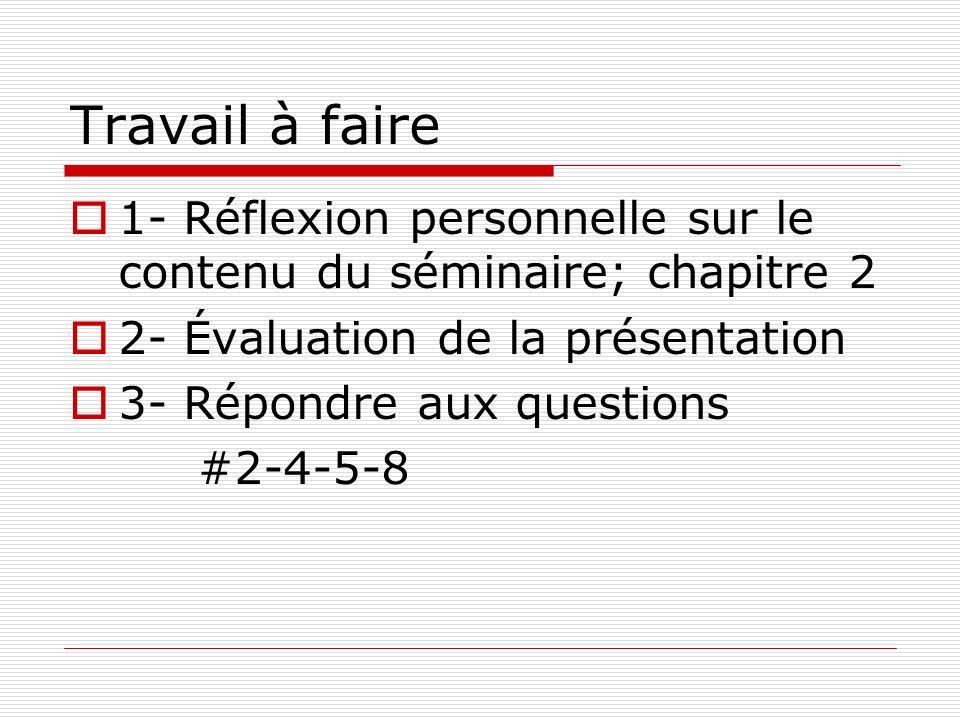 Travail à faire 1- Réflexion personnelle sur le contenu du séminaire; chapitre 2. 2- Évaluation de la présentation.