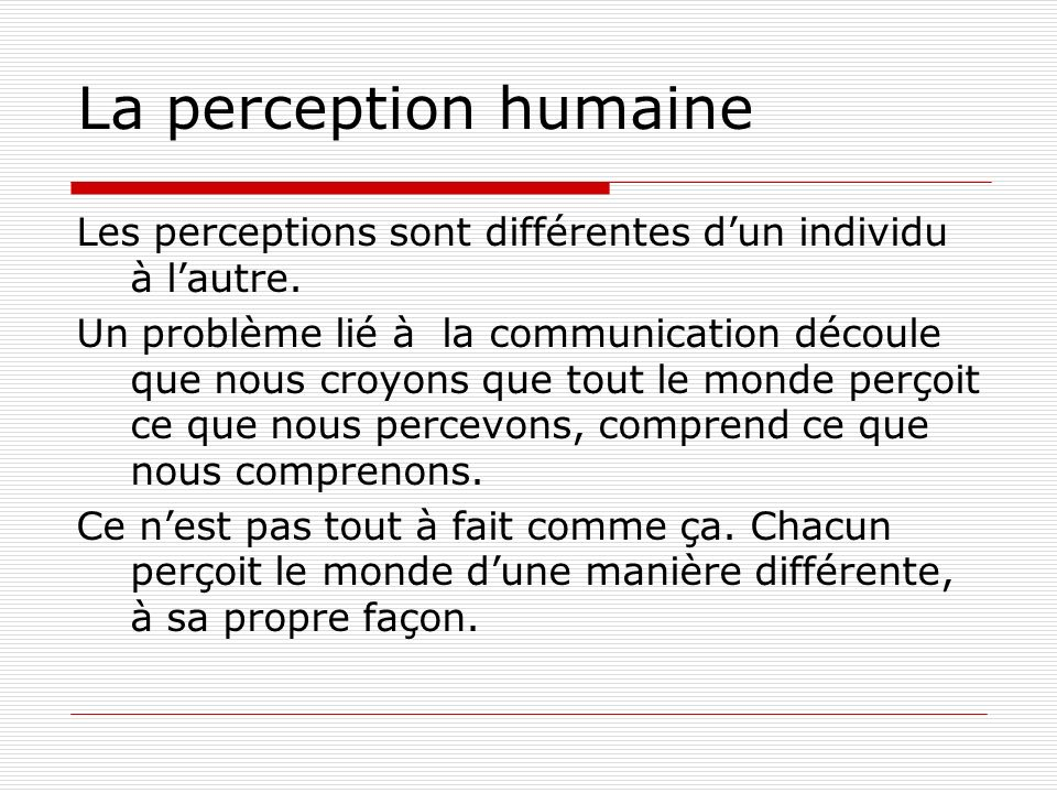 La perception humaine