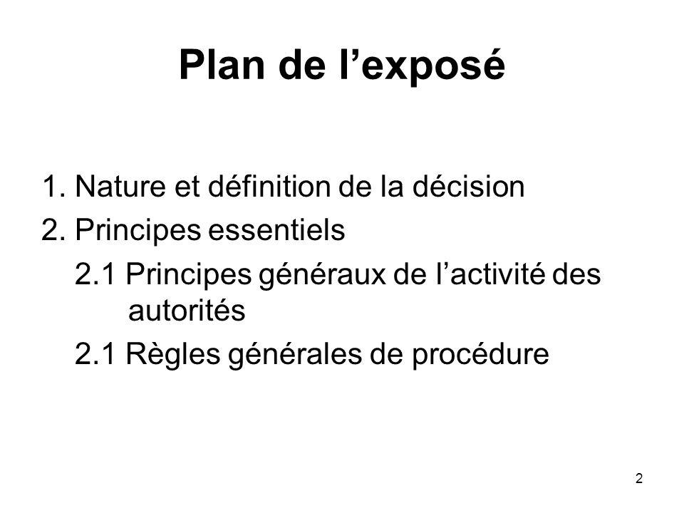 Plan de l'exposé 1. Nature et définition de la décision