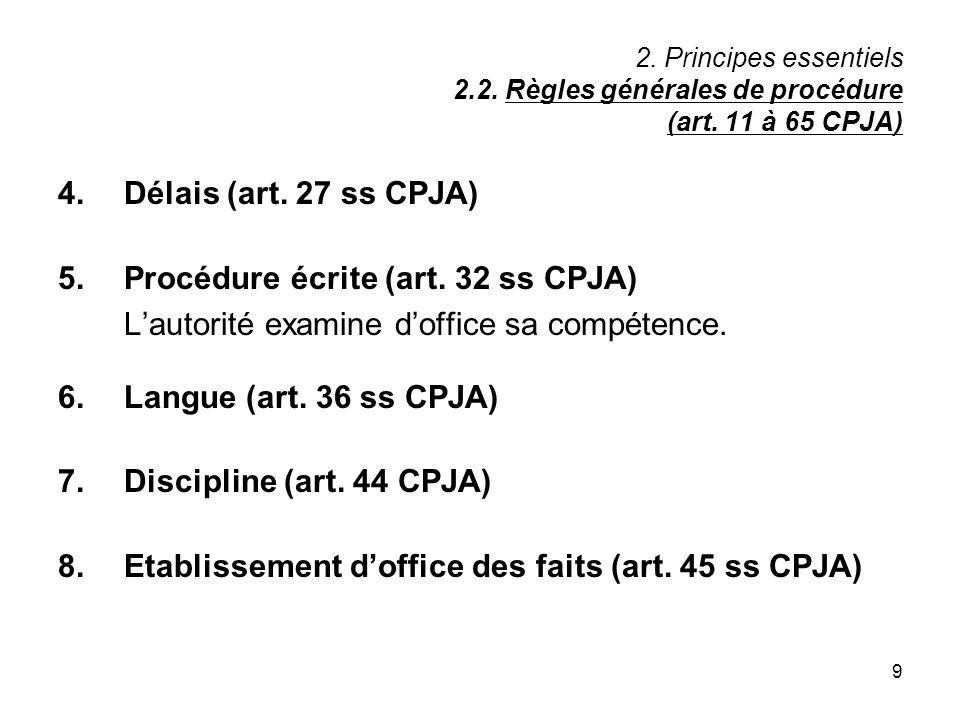 5. Procédure écrite (art. 32 ss CPJA)