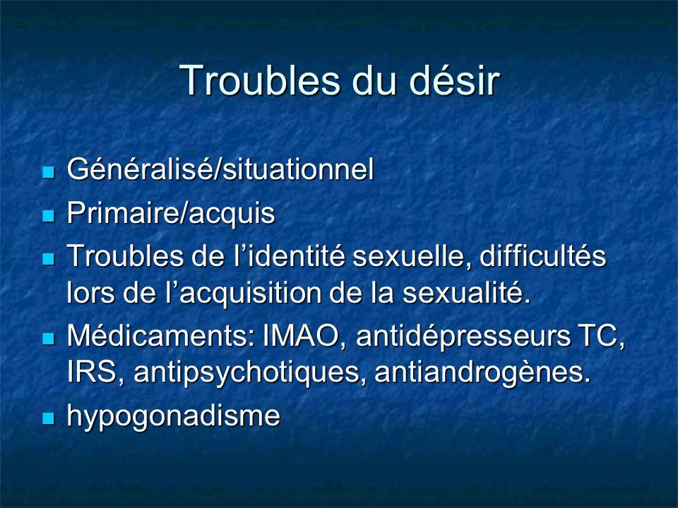 Troubles du désir Généralisé/situationnel Primaire/acquis