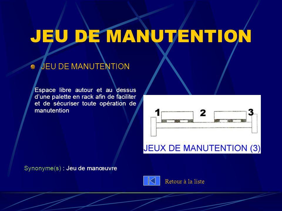 JEU DE MANUTENTION JEU DE MANUTENTION