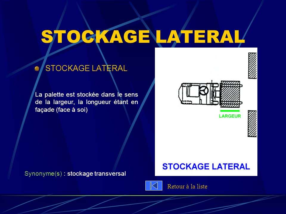 STOCKAGE LATERAL STOCKAGE LATERAL