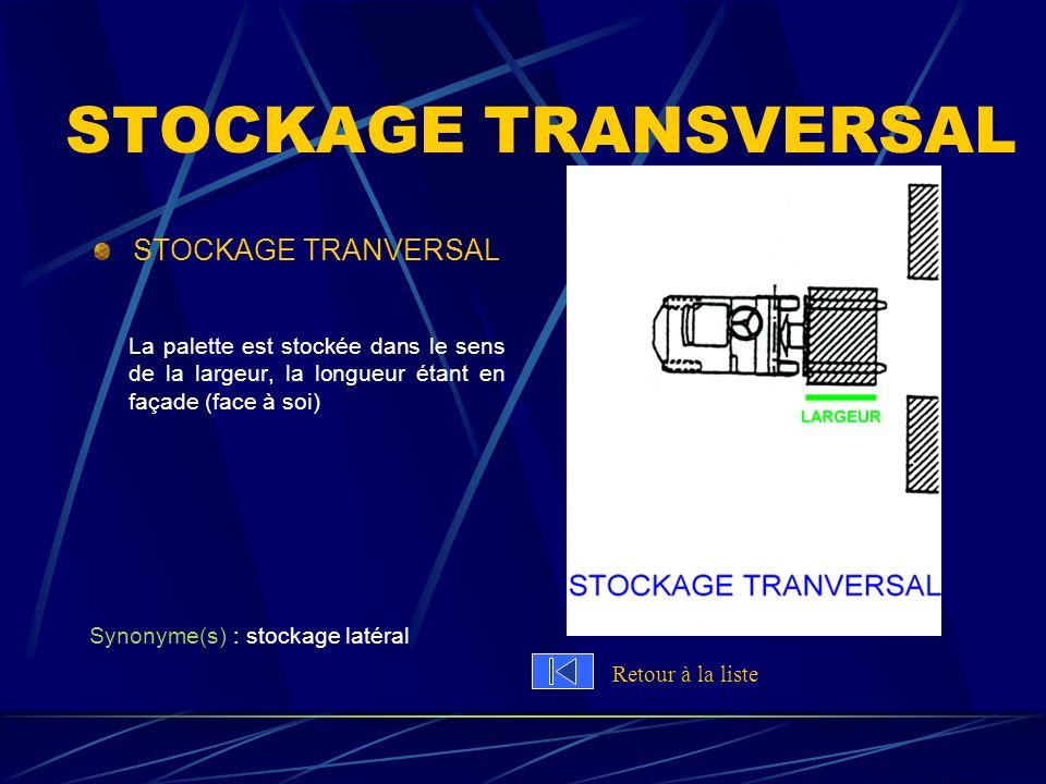 STOCKAGE TRANSVERSAL STOCKAGE TRANVERSAL