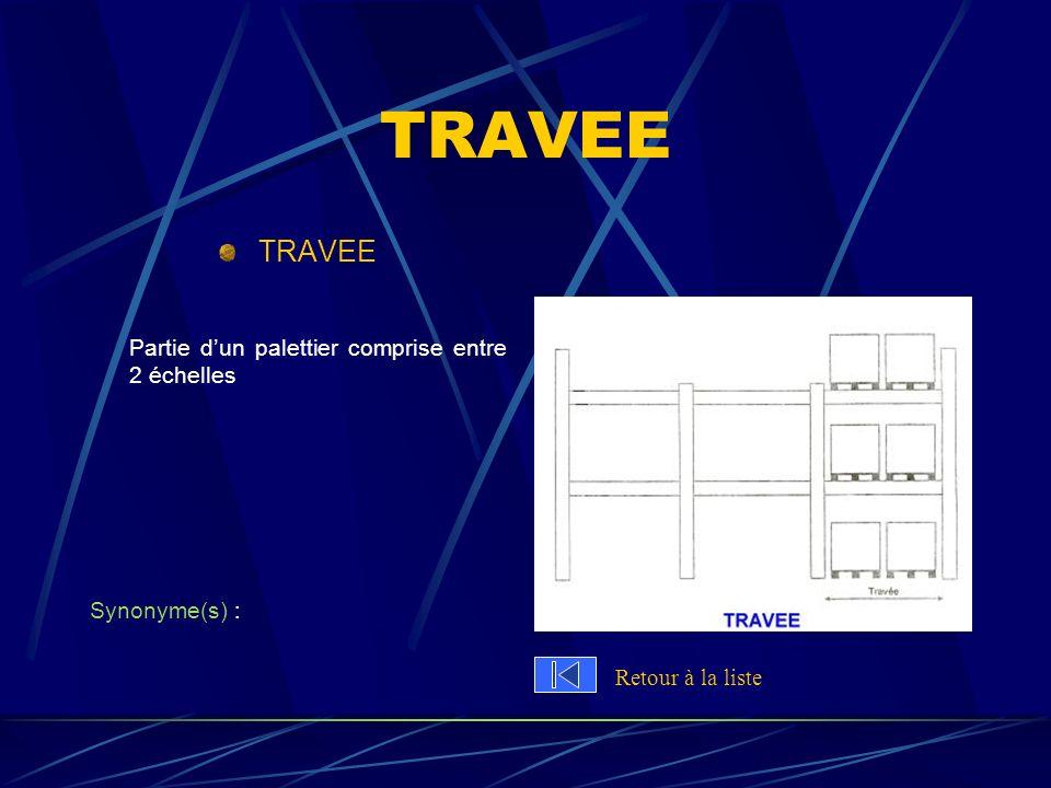 TRAVEE TRAVEE Partie d'un palettier comprise entre 2 échelles