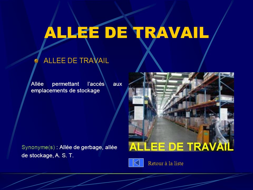 ALLEE DE TRAVAIL ALLEE DE TRAVAIL