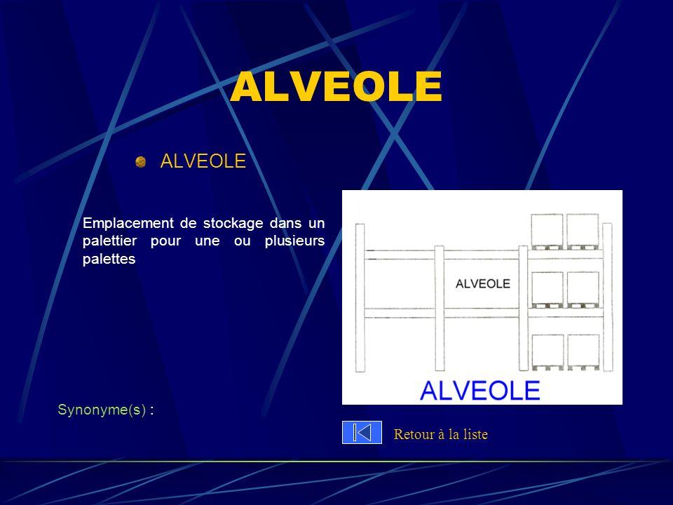 ALVEOLE ALVEOLE. Emplacement de stockage dans un palettier pour une ou plusieurs palettes. Synonyme(s) :